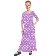 Scales1 White Marble & Purple Colored Pencil Kids  Quarter Sleeve Maxi Dress