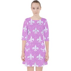 Royal1 White Marble & Purple Colored Pencil (r) Pocket Dress