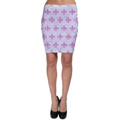 Royal1 White Marble & Purple Colored Pencil Bodycon Skirt