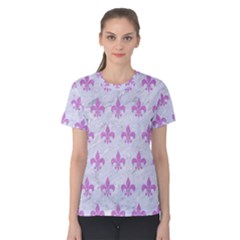 Royal1 White Marble & Purple Colored Pencil Women s Cotton Tee