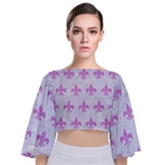 Royal1 White Marble & Purple Colored Pencil Tie Back Butterfly Sleeve Chiffon Top