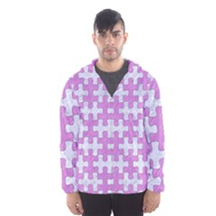 Puzzle1 White Marble & Purple Colored Pencil Hooded Windbreaker (men)