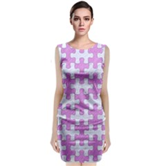 Puzzle1 White Marble & Purple Colored Pencil Classic Sleeveless Midi Dress