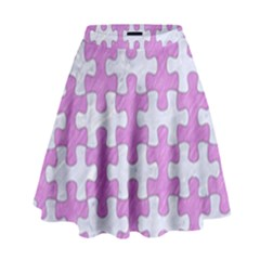 Puzzle1 White Marble & Purple Colored Pencil High Waist Skirt