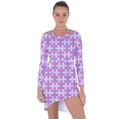 Puzzle1 White Marble & Purple Colored Pencil Asymmetric Cut Out Shift Dress