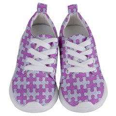 Puzzle1 White Marble & Purple Colored Pencil Kids  Lightweight Sports Shoes