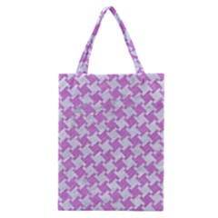 Houndstooth2 White Marble & Purple Colored Pencil Classic Tote Bag