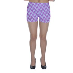 Houndstooth2 White Marble & Purple Colored Pencil Skinny Shorts