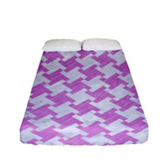 Houndstooth2 White Marble & Purple Colored Pencil Fitted Sheet (full/ Double Size)