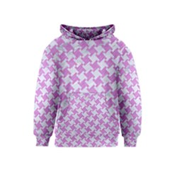 Houndstooth2 White Marble & Purple Colored Pencil Kids  Pullover Hoodie