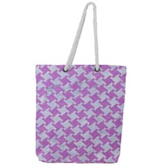 Houndstooth2 White Marble & Purple Colored Pencil Full Print Rope Handle Tote (large) by trendistuff