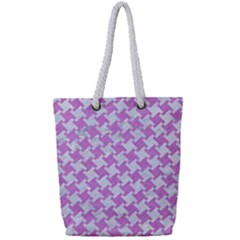 Houndstooth2 White Marble & Purple Colored Pencil Full Print Rope Handle Tote (small)
