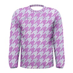 Houndstooth1 White Marble & Purple Colored Pencil Men s Long Sleeve Tee