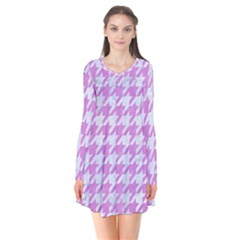 Houndstooth1 White Marble & Purple Colored Pencil Long Sleeve V Neck Flare Dress