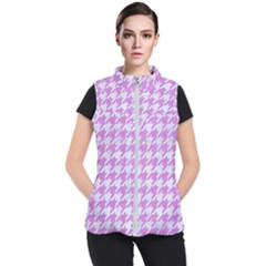 Houndstooth1 White Marble & Purple Colored Pencil Women s Puffer Vest