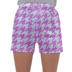 Houndstooth1 White Marble & Purple Colored Pencil Sleepwear Shorts