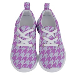 Houndstooth1 White Marble & Purple Colored Pencil Running Shoes