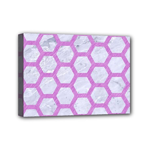 Hexagon2 White Marble & Purple Colored Pencil (r) Mini Canvas 7  X 5  by trendistuff