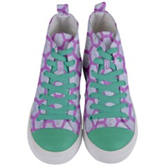 Hexagon2 White Marble & Purple Colored Pencil (r) Women s Mid Top Canvas Sneakers
