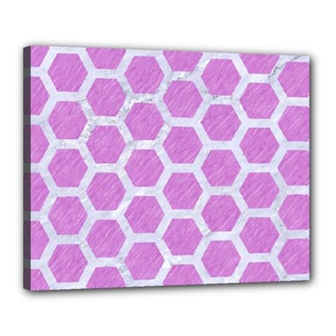 Hexagon2 White Marble & Purple Colored Pencil Canvas 20  X 16  by trendistuff