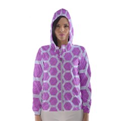 Hexagon2 White Marble & Purple Colored Pencil Hooded Windbreaker (women)