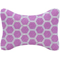 Hexagon2 White Marble & Purple Colored Pencil Seat Head Rest Cushion by trendistuff