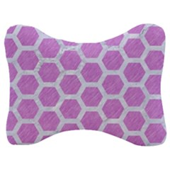 Hexagon2 White Marble & Purple Colored Pencil Velour Seat Head Rest Cushion by trendistuff