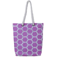 Hexagon2 White Marble & Purple Colored Pencil Full Print Rope Handle Tote (small)