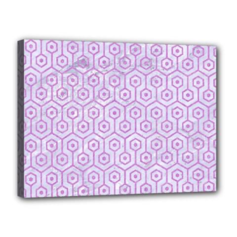 Hexagon1 White Marble & Purple Colored Pencil (r) Canvas 16  X 12  by trendistuff