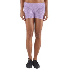 Hexagon1 White Marble & Purple Colored Pencil (r) Yoga Shorts