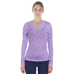 Hexagon1 White Marble & Purple Colored Pencil (r) V Neck Long Sleeve Top