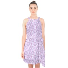 Hexagon1 White Marble & Purple Colored Pencil (r) Halter Collar Waist Tie Chiffon Dress