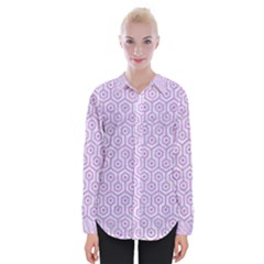 Hexagon1 White Marble & Purple Colored Pencil (r) Womens Long Sleeve Shirt