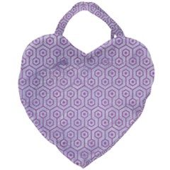 Hexagon1 White Marble & Purple Colored Pencil (r) Giant Heart Shaped Tote by trendistuff