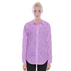 Hexagon1 White Marble & Purple Colored Pencil Womens Long Sleeve Shirt
