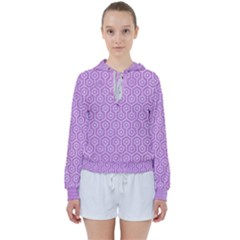 Hexagon1 White Marble & Purple Colored Pencil Women s Tie Up Sweat