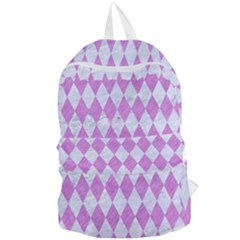 Diamond1 White Marble & Purple Colored Pencil Foldable Lightweight Backpack