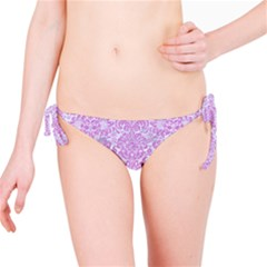 Damask2 White Marble & Purple Colored Pencil (r) Bikini Bottom