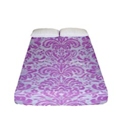 Damask2 White Marble & Purple Colored Pencil (r) Fitted Sheet (full/ Double Size)