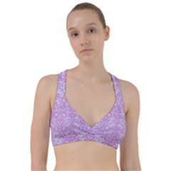 Damask2 White Marble & Purple Colored Pencil (r) Sweetheart Sports Bra