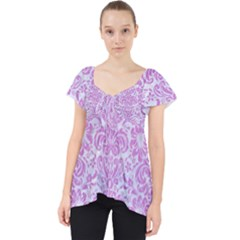 Damask2 White Marble & Purple Colored Pencil (r) Lace Front Dolly Top