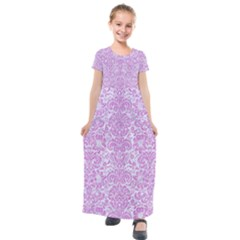Damask2 White Marble & Purple Colored Pencil (r) Kids  Short Sleeve Maxi Dress