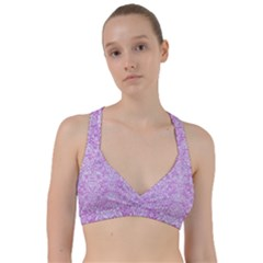 Damask2 White Marble & Purple Colored Pencil Sweetheart Sports Bra