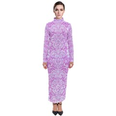 Damask2 White Marble & Purple Colored Pencil Turtleneck Maxi Dress