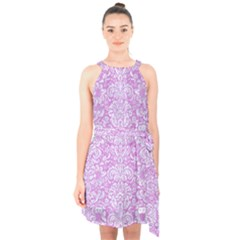 Damask2 White Marble & Purple Colored Pencil Halter Collar Waist Tie Chiffon Dress