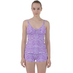 Damask2 White Marble & Purple Colored Pencil Tie Front Two Piece Tankini