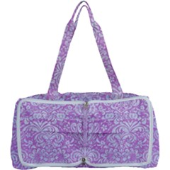 Damask2 White Marble & Purple Colored Pencil Multi Function Bag