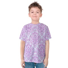 Damask1 White Marble & Purple Colored Pencil (r) Kids  Cotton Tee