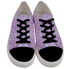 Damask1 White Marble & Purple Colored Pencil (r) Men s Low Top Canvas Sneakers