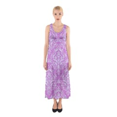 Damask1 White Marble & Purple Colored Pencil Sleeveless Maxi Dress